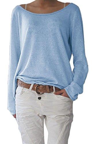 Damen Rundhalsausschnitt Langarm Lose Bluse Strickpulli Hemd Shirt Oversize Sweatshirt in vielen Trend Farben Tops S/M L/XL (632) (L/XL, Hellblau)