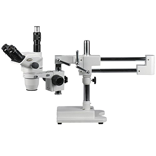 AmScope ZM-4TNW3 Professional Trinocular Stereo Zoom Microscope, EW10x and EW25x Eyepieces, 2X-225X Magnification, 0.67X-4.5X Zoom Objective, Ambient Lighting, Double-Arm Boom Stand, Includes 0.3x and 2.0x Barlow Lenses