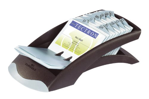 DURABLE 241301 - Visifix Desk Vegas - Tarjetero con 100 fundas con capacidad para 200 tarjetas de visita y 12 separadores impresos alfabéticamente, color negro