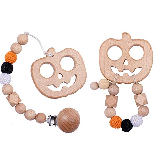 Promise Babe Halloween Pumpkin Pacifier Chain Set Wooden Crochet Bead Molar Bracelet Baby Teething Toy Shower Gift Universal Pacifier Clip Sensory Teether Toy(Pack of 2)