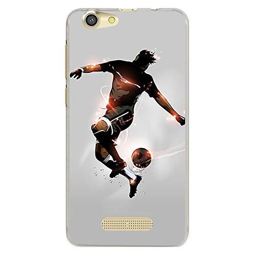 BJJ SHOP Transparent Hülle für [ Cubot Dinosaur/Cubot Note S ], Klar Flexible Silikonhülle, Design: Fußballspieler mit Ball und Lichtblitzen