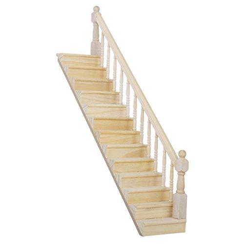 Escalier Miniature en Bois avec Rampe Droite Pré-assemblée pour Maison de Poupées
