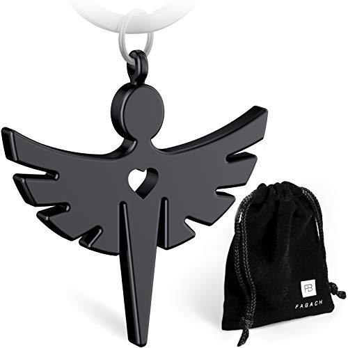 FABACH Schutzengel Fabiel Schlüsselanhänger mit Herz - Edler Engel Anhänger aus Metall in mattem Schwarz - Glücksbringer Geschenk für Auto, Führerschein - Fahr vorsichtig