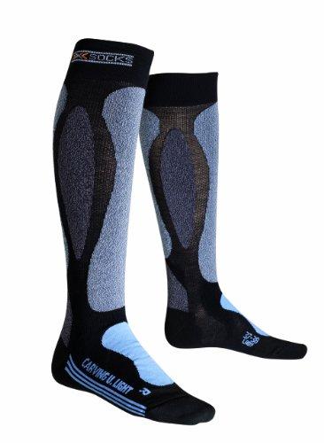 X-Socks Carving Chaussettes de ski Femme Noir/Bleu Ciel FR : 41-42 (Taille Fabricant : 41-42)