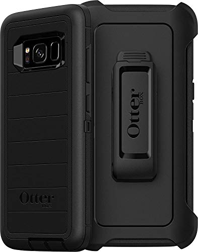 OtterBox Defender Series Rugged Case & Holster for Samsung Galaxy S8 (NOT Plus) Retail Packaging - Black (with Microbial Defense)