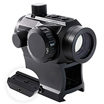 Hiram Green Red Dot Sight 1x20mm Micro Rifle Scope 4 MOA Reflex Sight with Illuminated Reticle and 7 Brightness Levels 20mm Picatinny Rail Riser Scope Mount Waterproof Fogproof Tactical Accessory