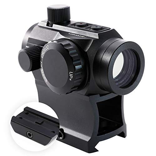 HIRAM Green Red Dot Sight 1x20mm Micro Rifle Scope 4 MOA Reflex Sight with Illuminated Reticle and 7 Brightness Levels, 20mm Picatinny Rail Riser Scope Mount, Waterproof Fogproof Tactical Accessory