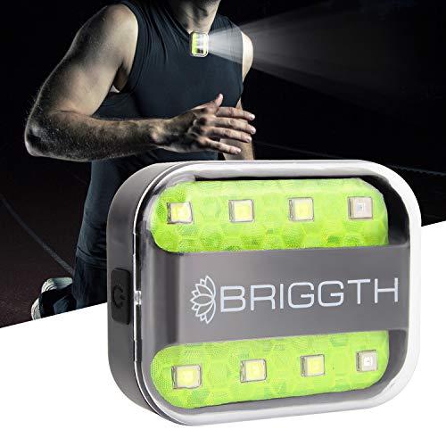 BRIGGTH Clip on Running lights for runners USB C rechargeable - Running light - safety lights for walking at night - dog walking light - jogging light - reflective running gear - strobe night light