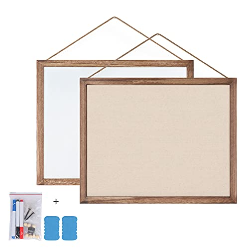 Emfogo Cork Board with 19x15 inch Combination White Board & Bulletin Cork Board 1-Pack Bulletin Board for Wall Home Office Decor,Home School Office Message Board or Vision Board (Carbonized Black)