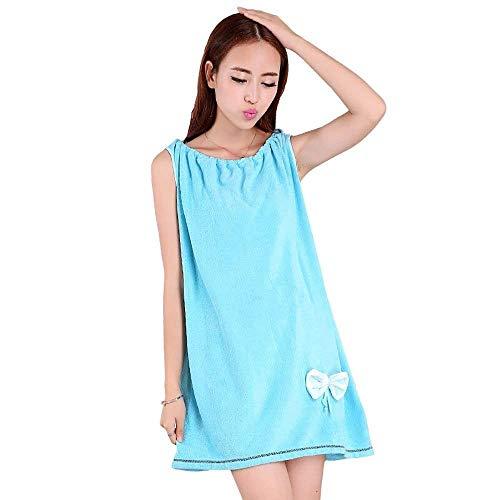 Winkel Dames Kleding Plus Volwassen Verdikking Absorberende Vest Badjas Pyjama Badpak Huiskleding Eenvoudige Glamoureuze Sauna Spa Douche Strand Handdoek * (Kleur Blauw)