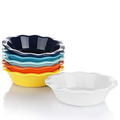 Sweese 521.002 Porcelain, Mini Pie Pan Set, 6.5 Inch - 12 oz Individual Pie Plate, Non-Stick Pie Dish, Round Pie Tins with Ruffled Edge, set of 6, Hot Assorted Color
