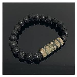 Energie grau grün natur tibetan dzi agates armbänder vintage buddha gebet neunäugige agate charme schwarze lava armbänder männlich handgefertigte Ward aus bösen Spirituosen Geld ( Farbe : Three Eyed )