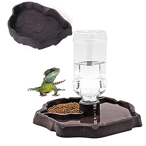 AzulLanse Eidechse - Ciotola per l'acqua a forma di tartaruga, rettili, distributore automatico di cibo + 1 piccola ciotola (marrone)
