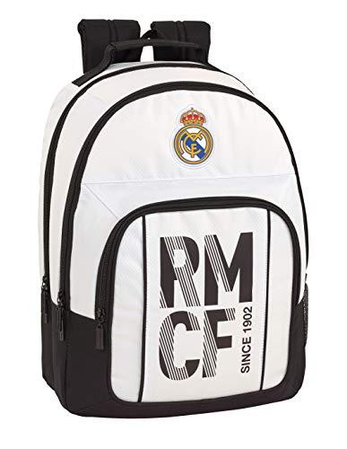 Real Madrid CF Equipaje para niños Mochila Grande Doble Adaptable a Carro  Blanco  42