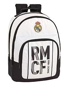 Real Madrid CF Equipaje para niños Mochila Grande Doble Adaptable a Carro, Blanco, 42 cm
