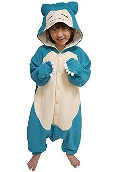 SAZAC Kigurumi - Pokemon - Snorlax - Onesie Jumpsuit Halloween Costume - Kids Size  5-9 Year Old  Blue