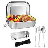 Jovego Edelstahl Brotdose,1400ML Bento Box Premium Lunchbox Edelstahl Set,Boxen Metall Brotdose Auslaufsicher Brotdose mit 3 Besteck,Brotbox mit festen Fächern für Schule, Büro, Kinder und Erwachsen