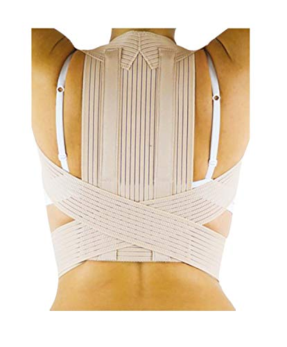MANIFATTURA BERNINA Sana 55122 (Talla 5) - Corrector elástico ortopédico de Postura Espalda y Hombro Ajustable con Varillas