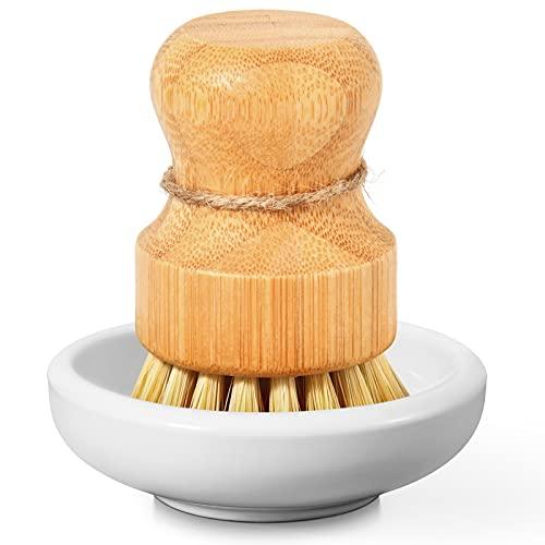 SUBEKYU Bamboo Dish Scrub Brush for Kitchen Sink,...