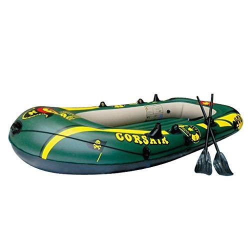 La Mejor Navegación de Viajes de Pesca: Bote Inflable de Kayak Plegable con Remos de Plástico Y Bomba Manual - Kayak de Pesca Liviano Verde - Pescador Y Recreativo (Size : 3-Person - 236 x 138cm)