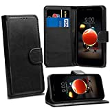 LG K8 2018 LG K9 Cases - Black Premium Wallet Leather Flip