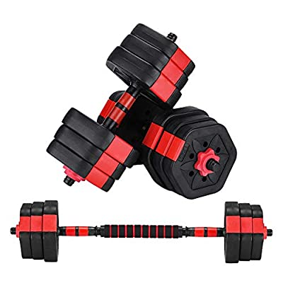 ZYOMY Dumbbells Set 44Lbs, Adjustable Weight Dumbbells Pair Barbell with Connecting Rod Hexagon Weight Plates Strength Training Equipment for Home Fitness, Exercise, Workout, Whole Body Training