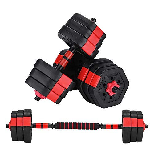 ZYOMY Dumbbells Set 44Lbs, Adjustable Weights Dumbbells Barbell, Free Fitness Dumbbell with Connecting Rod for Home Gym, Exercise, Workout, Office, Whole Body Training