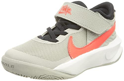 Nike Team Hustle D 10, Zapatos de Tenis Unisex niños, Lt Smoke Grey Bright Crimson, 28 EU
