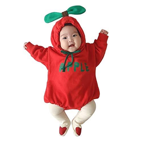 Topkeal - Pelele de manga larga para bebé, con capucha, para niños pequeños A_rojo. 90 cm