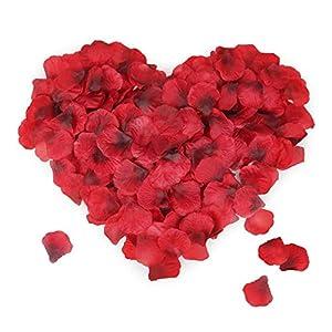 Mitening 3500 Pcs Pétalos de Rosa, Pétalos de Rosa en Seda Artificiales Rojo para Bodas Confeti, Fiestas, Día de San…