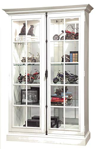 Howard Miller Clawson V Display Cabinet 670-023 - Lightly Distressed Aged Linen Glass Curio Shelf Case with No Reach Roller Light & Hinged Front Doors
