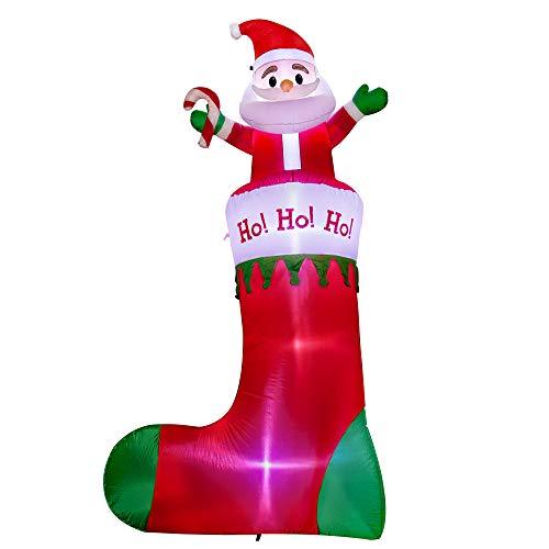 SEASONJOY 10Ft Christmas Inflatable Santa on Stockings, Outdoor Christmas Inflatable Decorations for Yard Lawn Garden