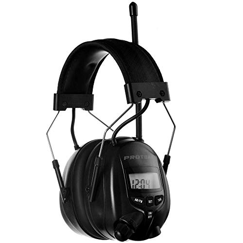 PROTEAR Digital AM FM Radio Headphones, hearing protection headphones, Safety Ear Muffs, Noise Reduction Rate 25dB, Ear Defender for Mowing Lawn Working(Black)