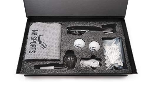 NB Sports Golf Geschenkset, mit Handtuch, Bällen, Reinigungs-Bürste, Gabel/Pitchgabel, Ball-Marker, Tees