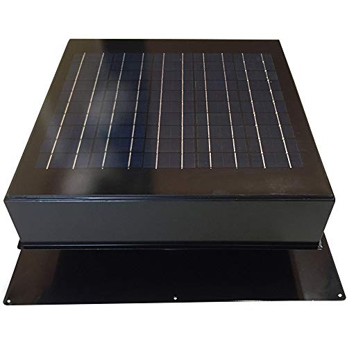 20-Watt Solar Attic Fan (Black) with Thermostat / Humidistat (22 x 22 x 11 IN) - Brushless Motor – Hail and Weather Resistant Solar Vent Fan – Solar Powered Attic Fan for Homes - by Remington Solar