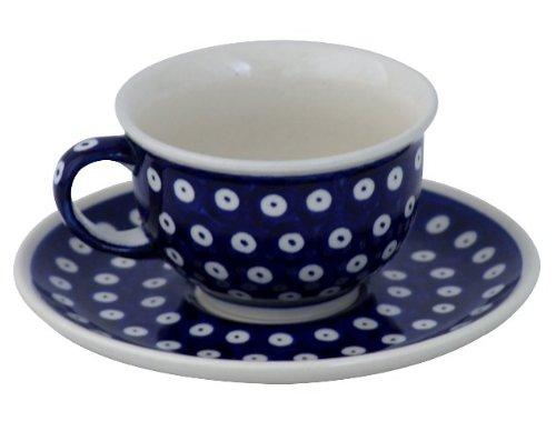 Original Bunzlauer Keramik Tasse mit Untertasse 0.2 Liter im Dekor 42