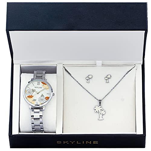 SKYLINE, Conjunto de Accesorios para Mujer, Reloj de Pulsera, Collar y Pendientes con Diseño de Palmera, Acero Inoxidable, Cumpleaños, Aniversario, etc, Color Plateado