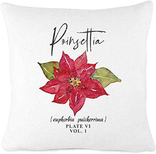 Funda de cojín de Navidad con diseño de flor roja de Poinsetta para decoración de casa de campo, casa de campo