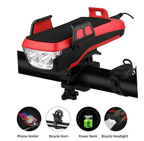 mozeeda Fahrradscheinwerfer LED-Fahrrad Scheinwerfer 4 in 1 Wiederaufladbare Vordere Fahrradlichter 130 Dezibel Lautsprecher 400 Lumen Superhelle 4000Ma Power Bank Fahrrad Handyhalterung Hupe