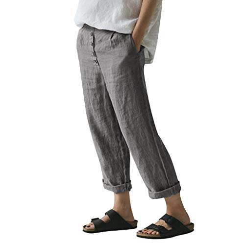 OverDose Soldes Pantalon Chino en Lin Femme, Décontractée été Automne Pantalon Droite Respirant Pantalon Smoking Pantalons Longue