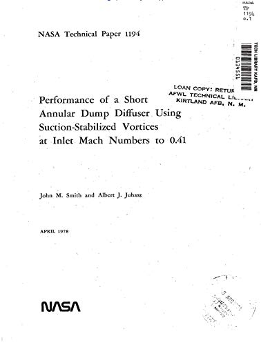 Performance of a short annular dump diffuser using suction-stabilized vortices at inlet Mach numbers to 0.41 (English Edition)