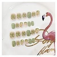 DINGGUANGHE 24pcsたくさんのたくさんの偽の爪が付いている新鮮な女の子の砂の緑のハイブリッドショートネイルゴールドスターチャーム人工偽の釘