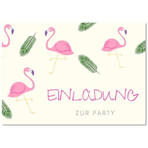 Gentle North 15 x Flamingo Einladungskarten Geburtstag Kinder - Größe A6 - Coole Einladung zum Kindergeburtstag für Mädchen und Jungen - Witzige Einladungskarte