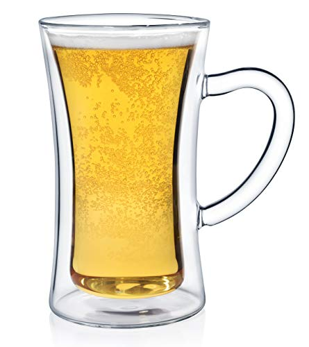 Dragon Glassware Beer Mug, Insulating Double Walled Glass, 13.5-Ounce