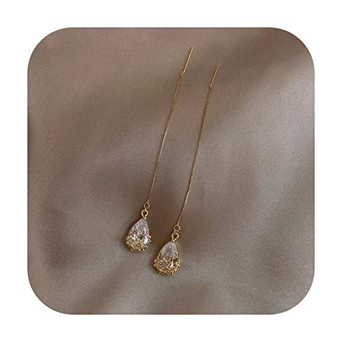 2021 New Arrival Crystal Trendy Women Dangle Earrings Simple Fashion Elegant Pearl Earring Female Rhinestone Temperament Jewelry-Tassel