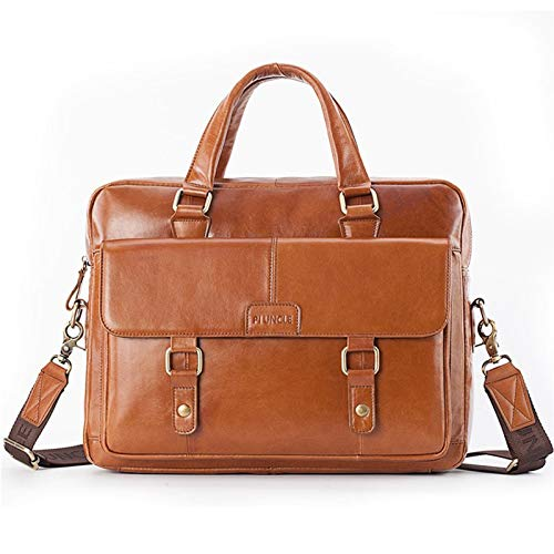 Briefcase Male Men's Briefcase Men Bag Genuine Leather Laptop Bag Leather Computer/Office Bags for Men Messenger Bag (Color : Yellow Brown)