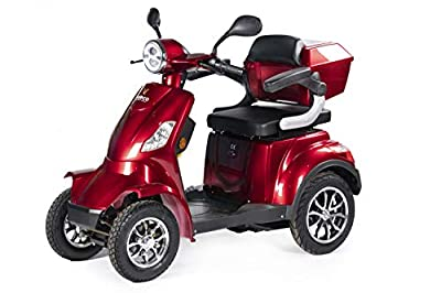 VELECO 4 Wheeled Electric Mobility Scooter 1000W Faster Lithium-Ion Battery (Red)