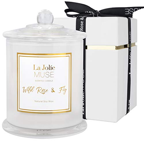 LA JOLIE MUSE Wild Rose & Fig Scented Candle, Natural Soy Candle for Home, 50-65 Hours Long Burning, White Glass Jar, Home Gift, 9.9Oz/280g