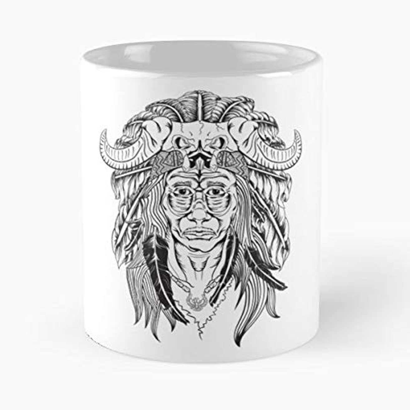 Chief Native Feathers History - Coffee Mugs Unique Ceramic Novelty Cup For Holiday Days 11 Oz.