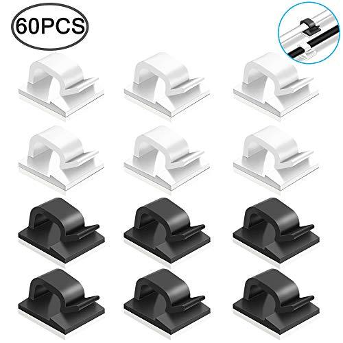 FineGood 60 Stück selbstklebende Kabelclips, Kabelhalter aus Kunststoff Kabelhalterung für das Home Office - schwarz, weiß